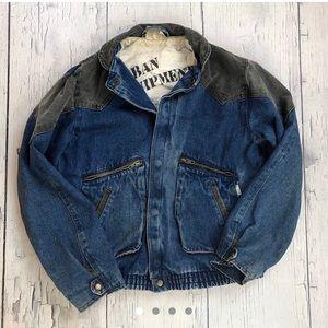 Vintage denim jacket women's xl blue grey 90's